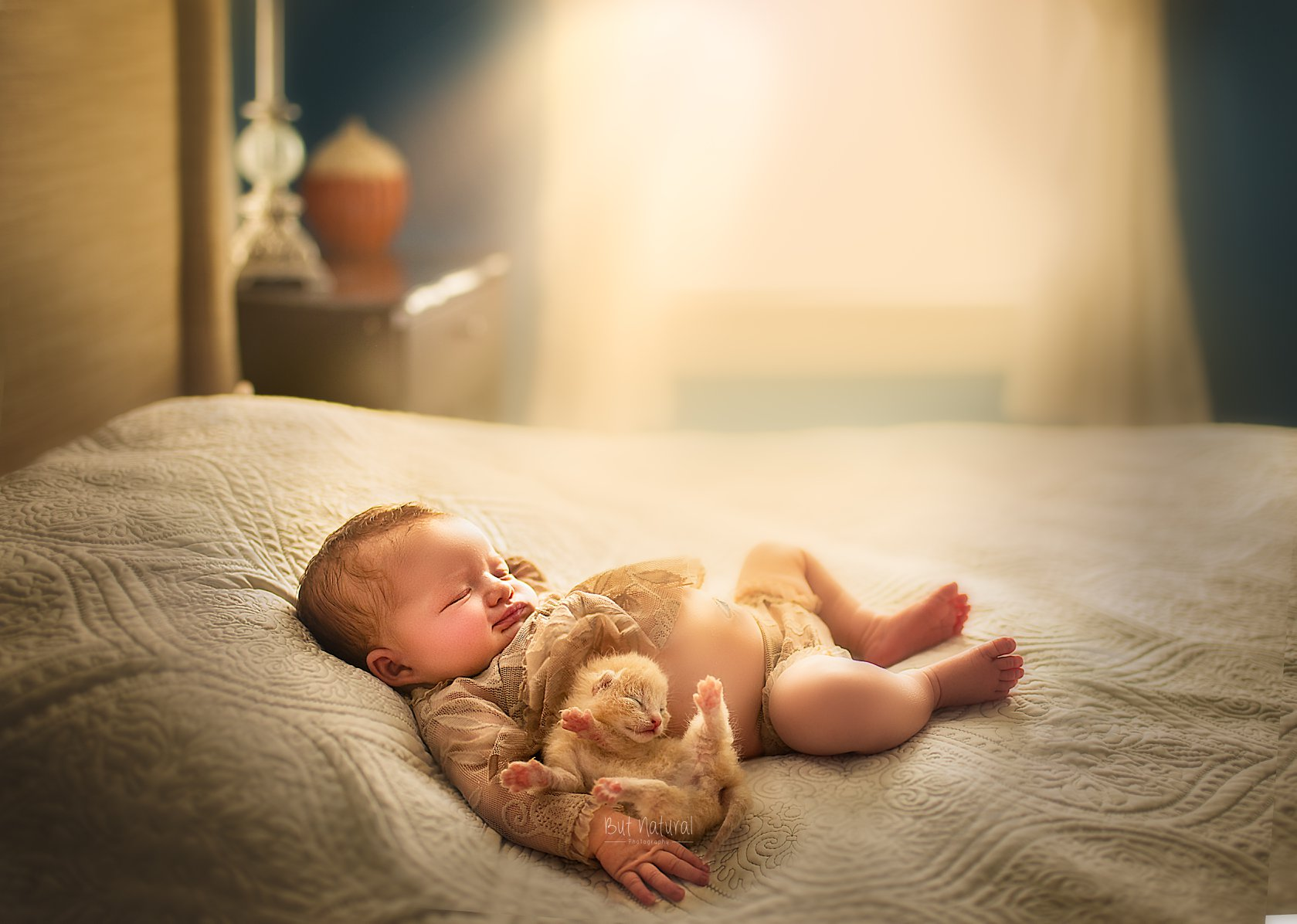 newborn baby with kitten and puppy photoshoot idea by Sujata Setia | But Natural Photography