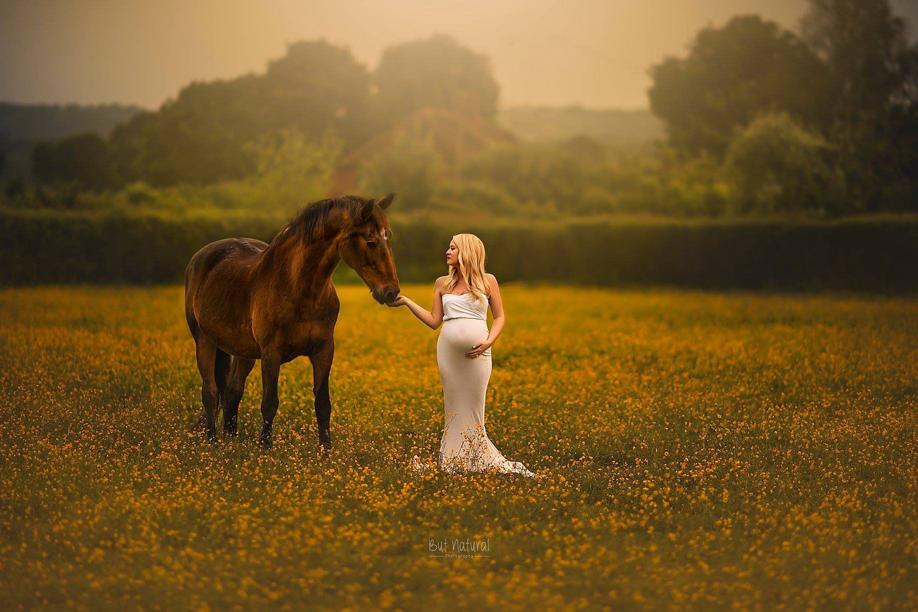 A pregnant lady standing next to the horse on a open field for maternity photoshoot   But Natural Photography
