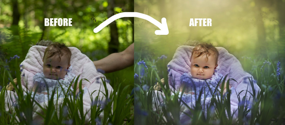 Before & after image after color cast using Adobe Photoshop